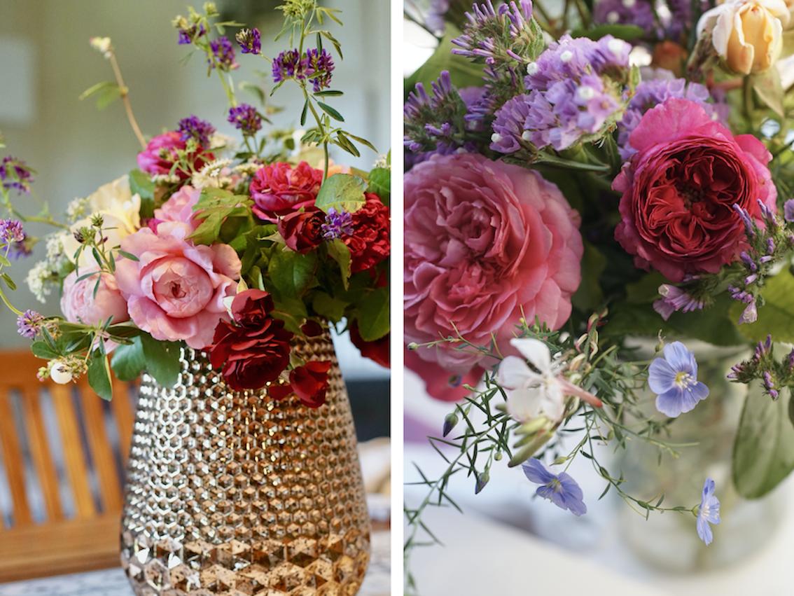 Bouquet de roses en mariage avec d'autres fleurs- Roses Guillot®